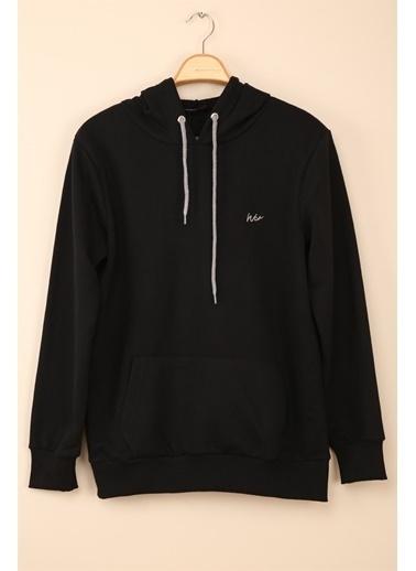 Z Giyim Kapşonlu Pamuklu Basic Sweatshirt Siyah